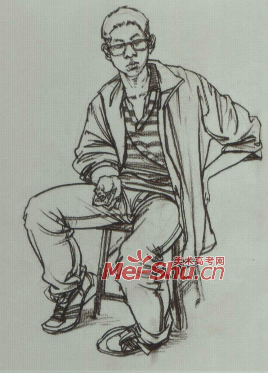 速写人物坐姿坐着看书的人青年坐姿坐着的人速写 2
