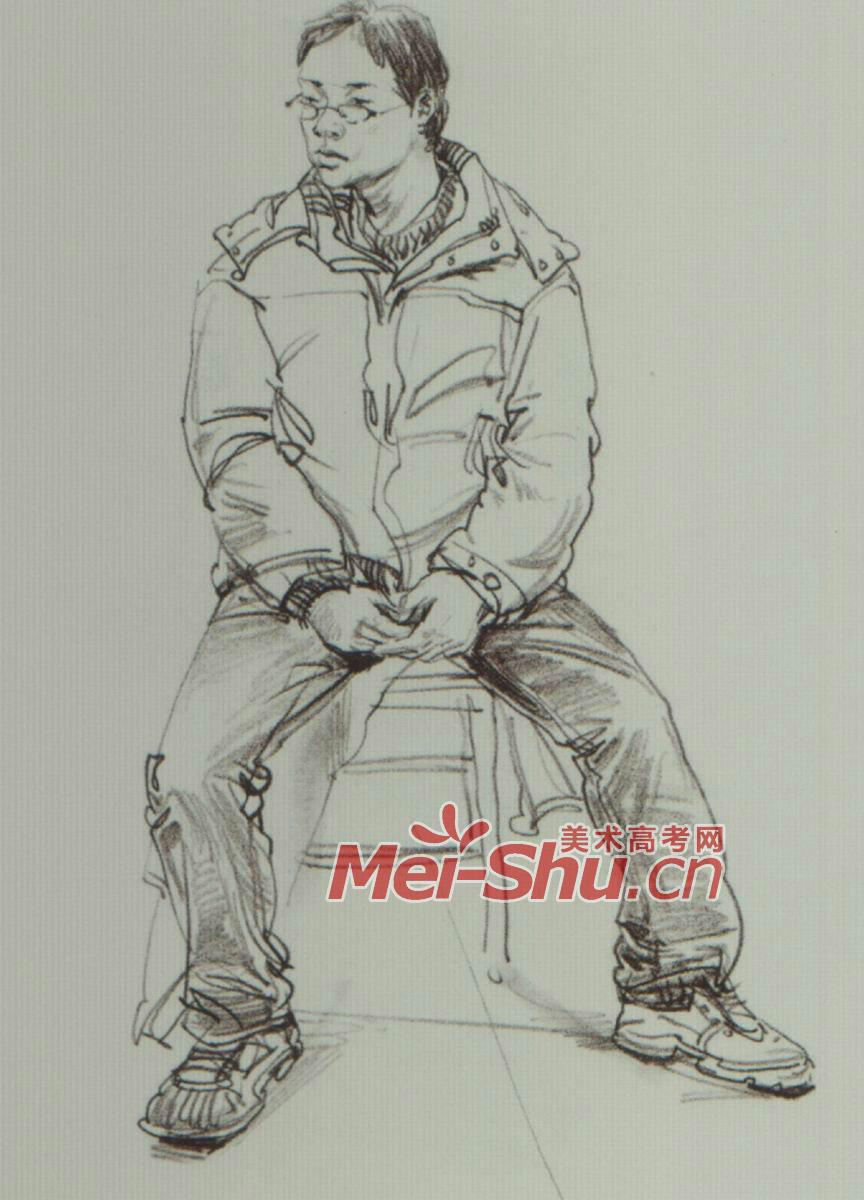 速写人物坐姿坐着看书的人青年坐姿坐着的人速写(4)