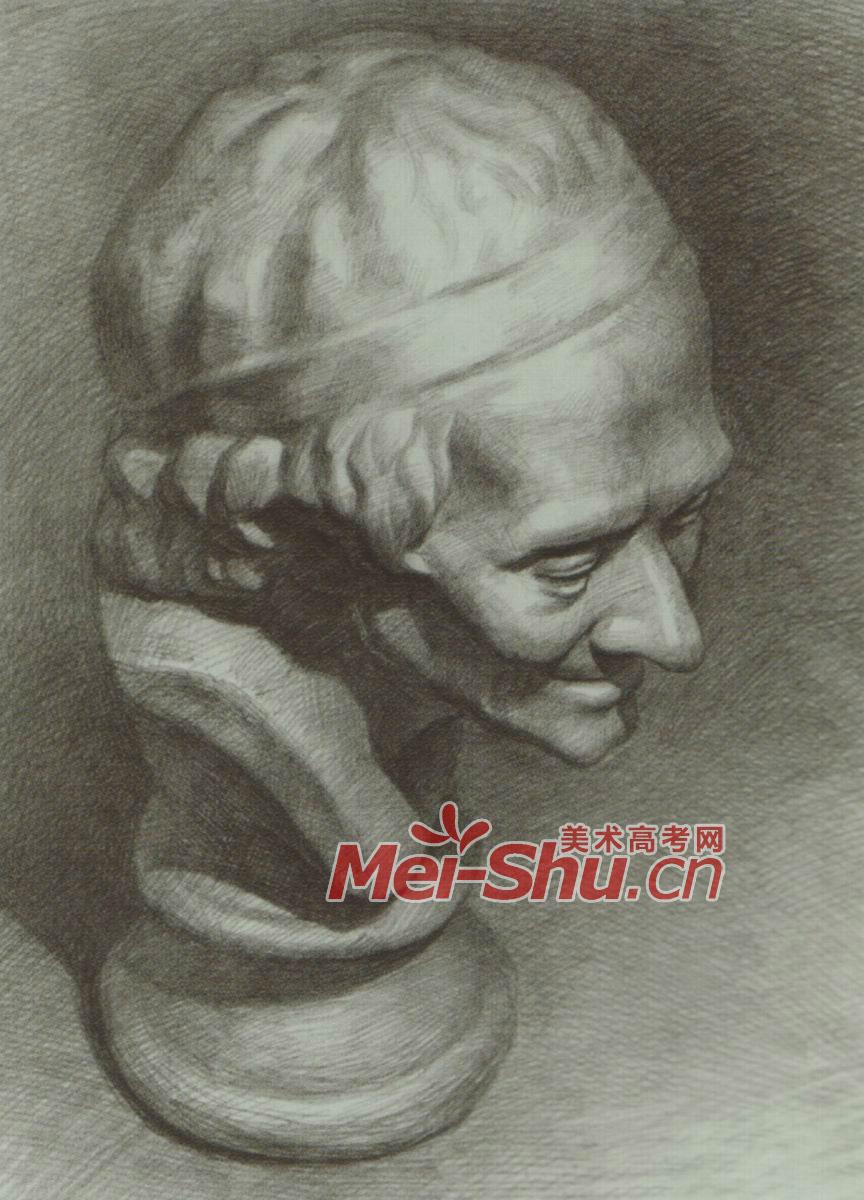 素描石膏体头像伏尔泰侧光逆光正面侧面俯视仰视(6)