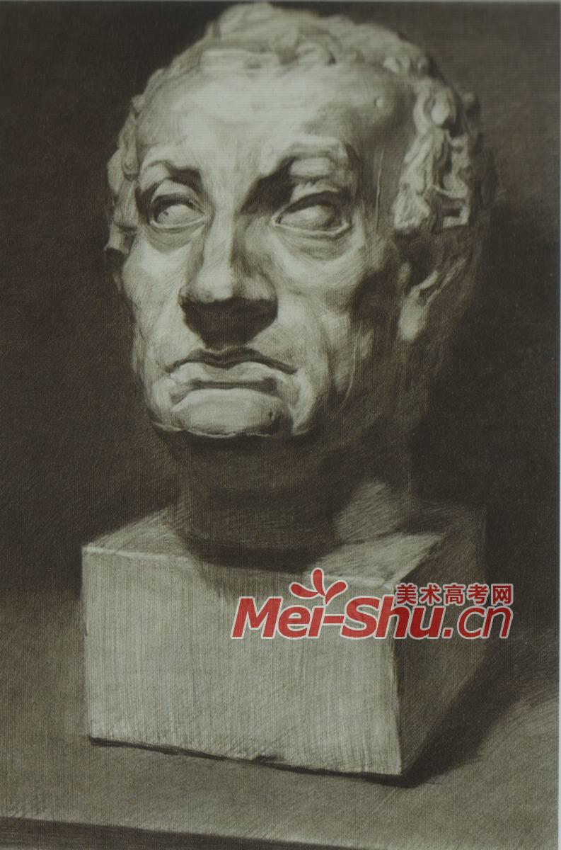 素描石膏体头像侧面正面四分之三侧顶光顺光绘画技法