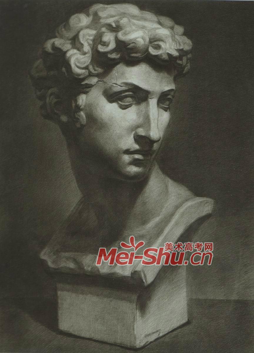 素描石膏像小卫侧面画法正面视角朱利诺小卫石膏头像技法(3)