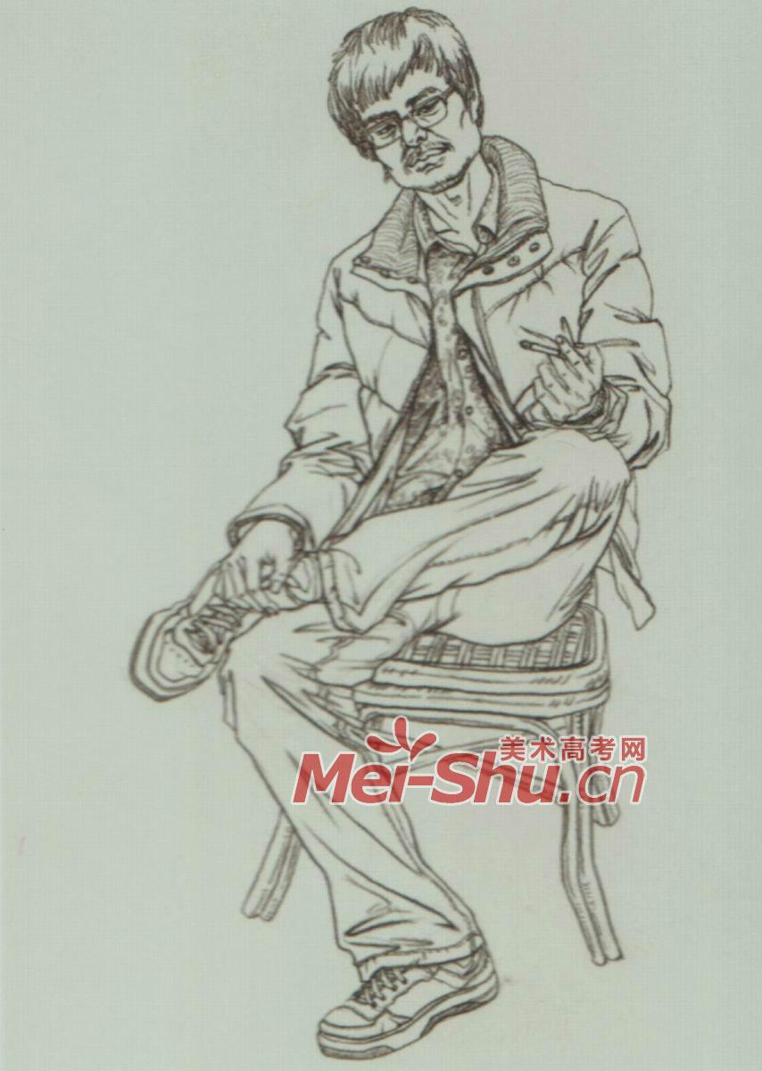 速写人物单个人物速写坐姿二郎腿男青年女青年正侧面 5图片