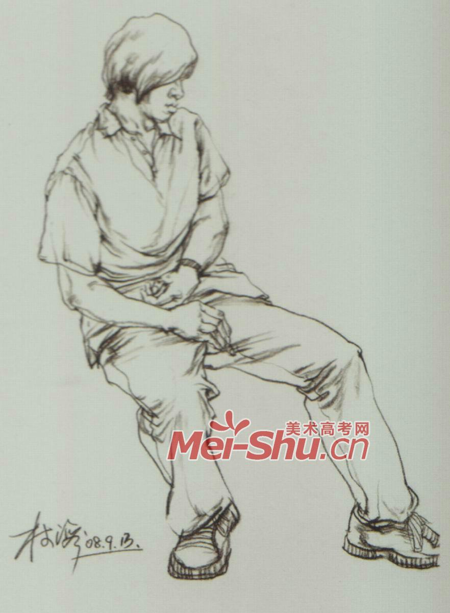 速写技法男青年侧面坐姿正面坐姿戴帽子的人(2)