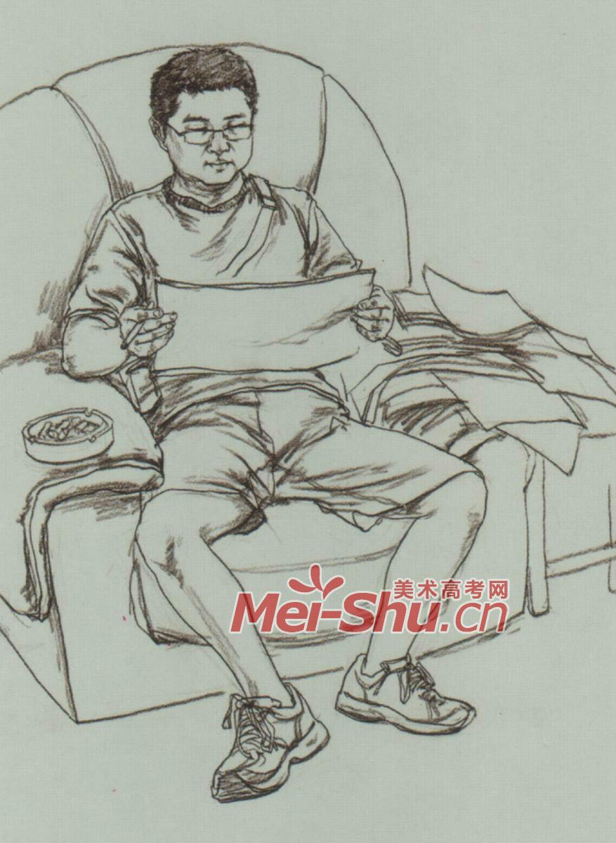 速写人物单个人物速写坐在沙发上的人坐着看报的人坐在地上的女青