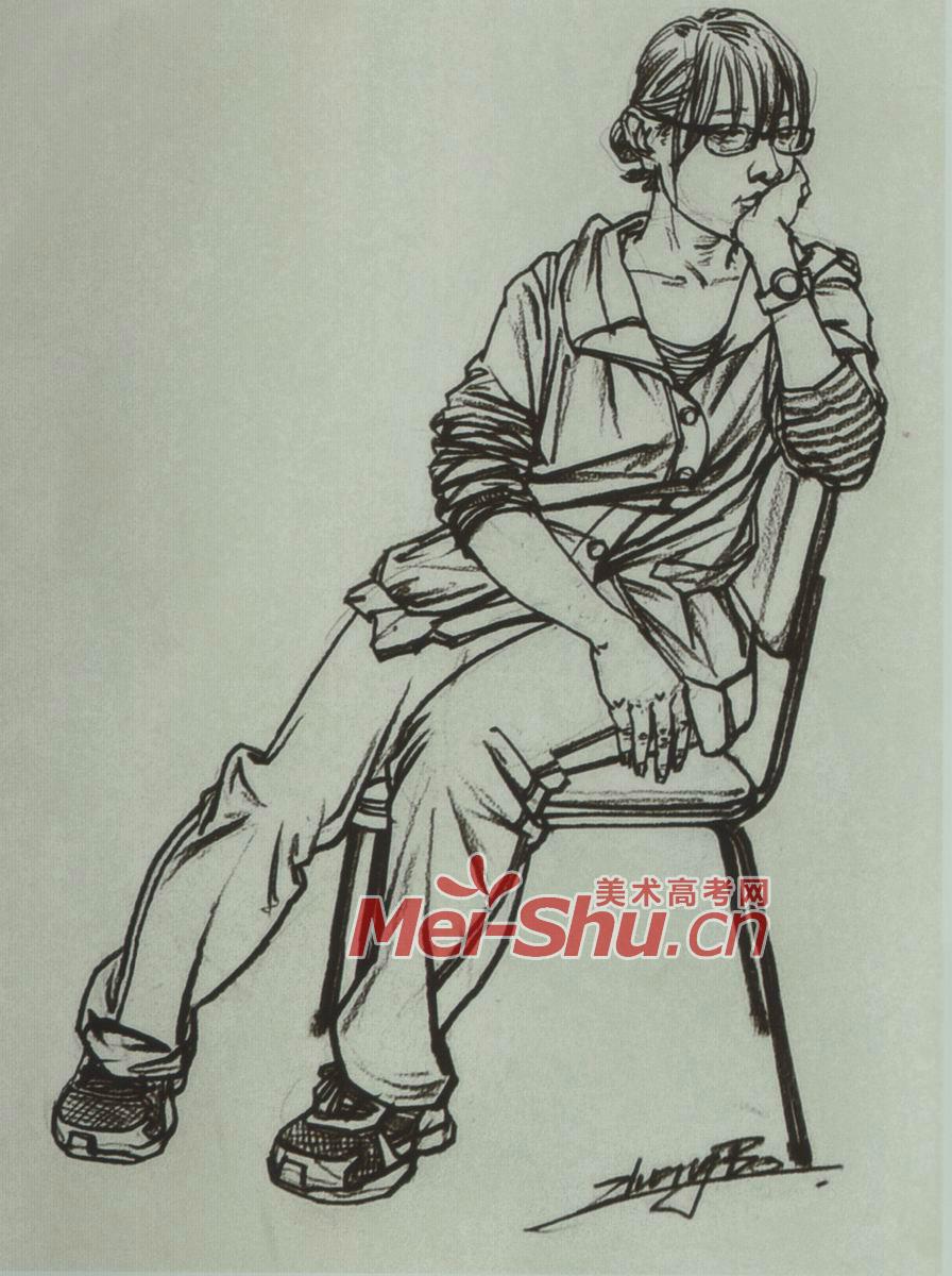 人物速写坐姿坐着发呆的人坐在椅子上的女青年男青年