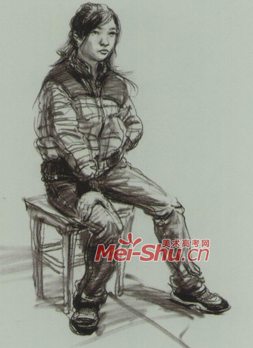 人物速写单个人物速写坐姿技法坐姿坐在凳子上的人