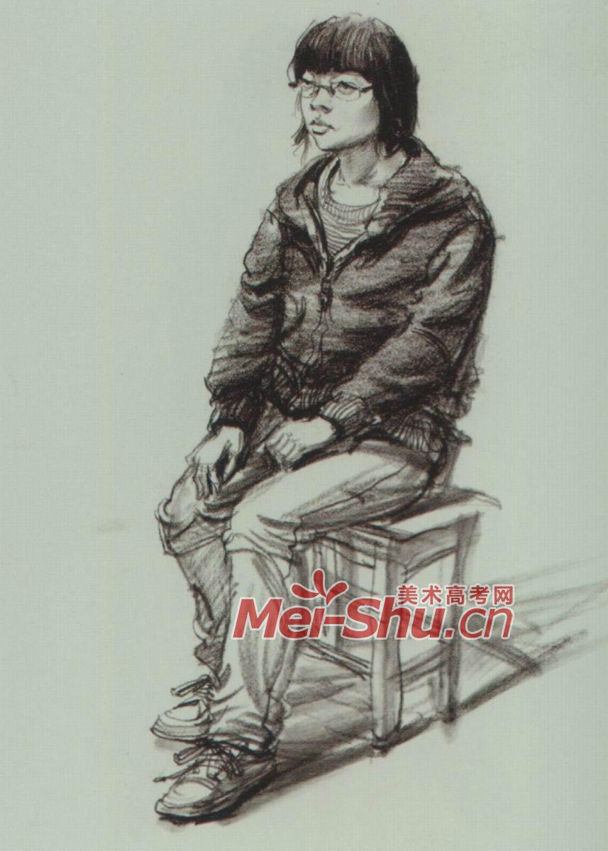 速写人物单个人物速写正面坐姿男青年女青年男性女性