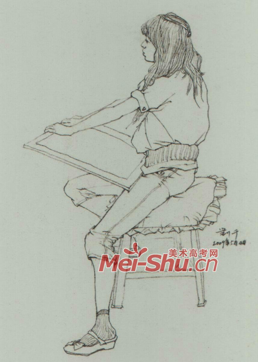速写人物坐姿坐着的人坐着的女青年坐着的男青年 4