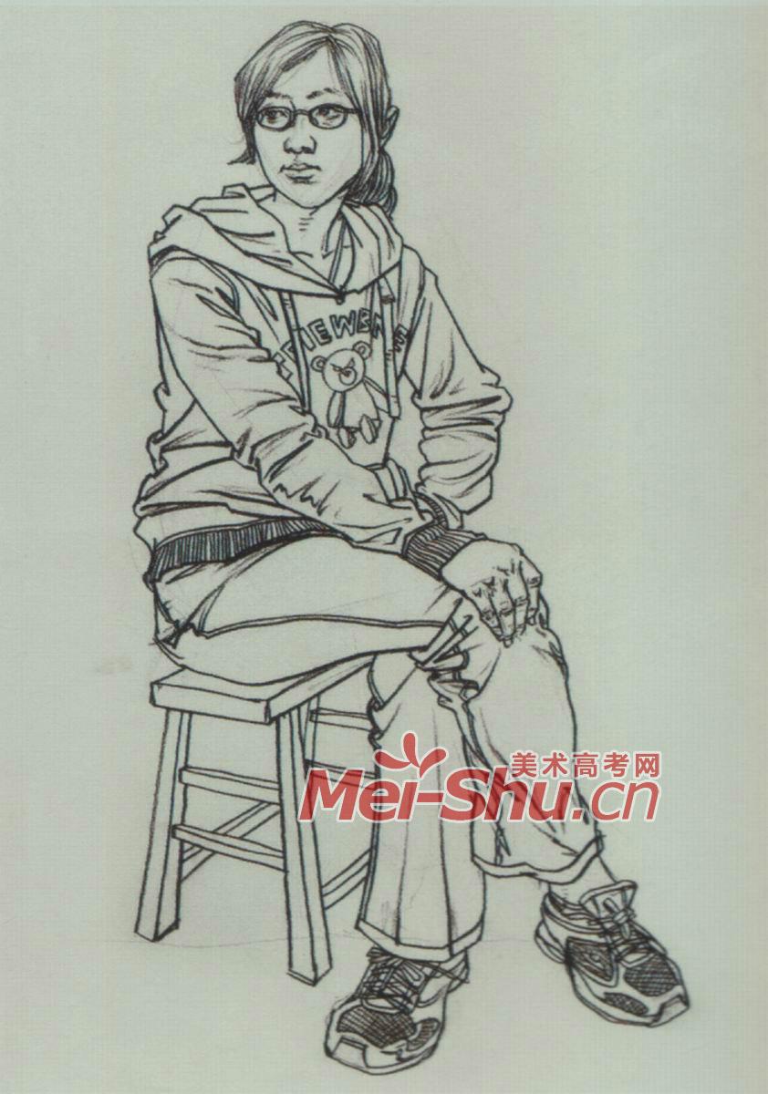 速写人物坐着的女青年蹲坐着的人坐在躺椅上的人 5图片