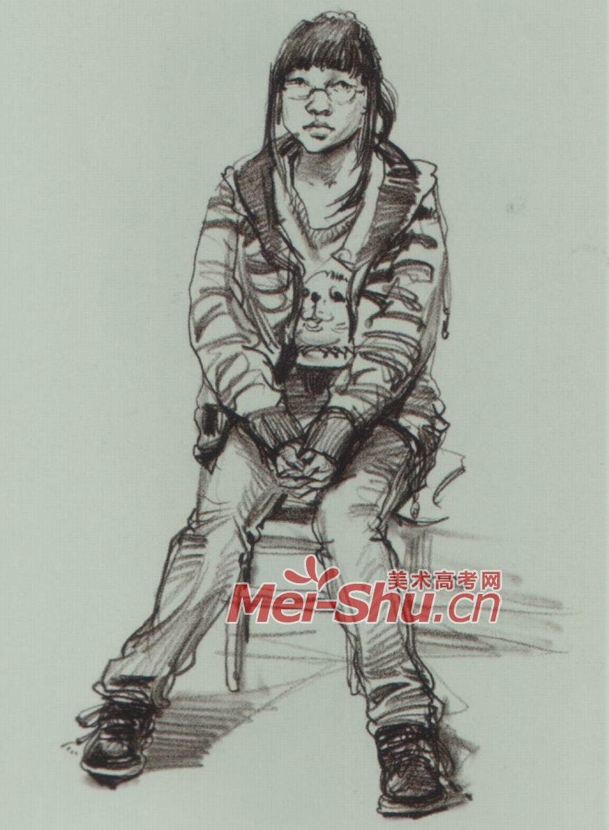 速写人物坐姿范画技法抱着腿的坐姿中年人二郎腿坐姿坐在凳子上女 4
