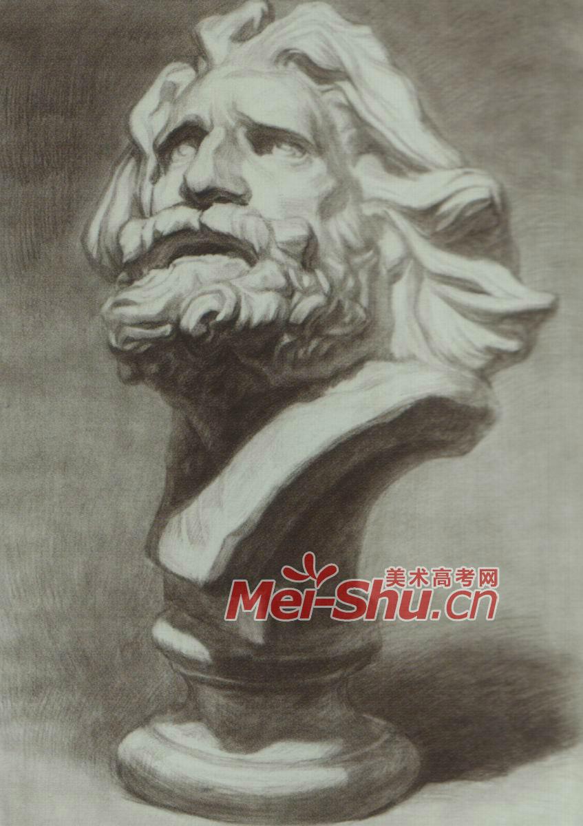 素描石膏体拉奥孔绘画技法侧面光源仰视正面素描头像顺光(9)