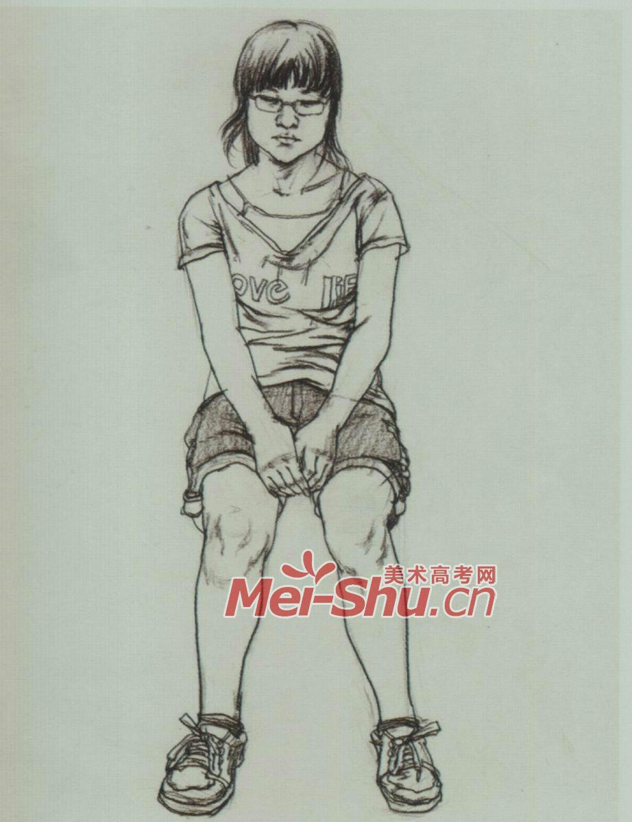 速写人物年轻人坐姿坐着喝水的女孩正面坐姿侧面坐姿