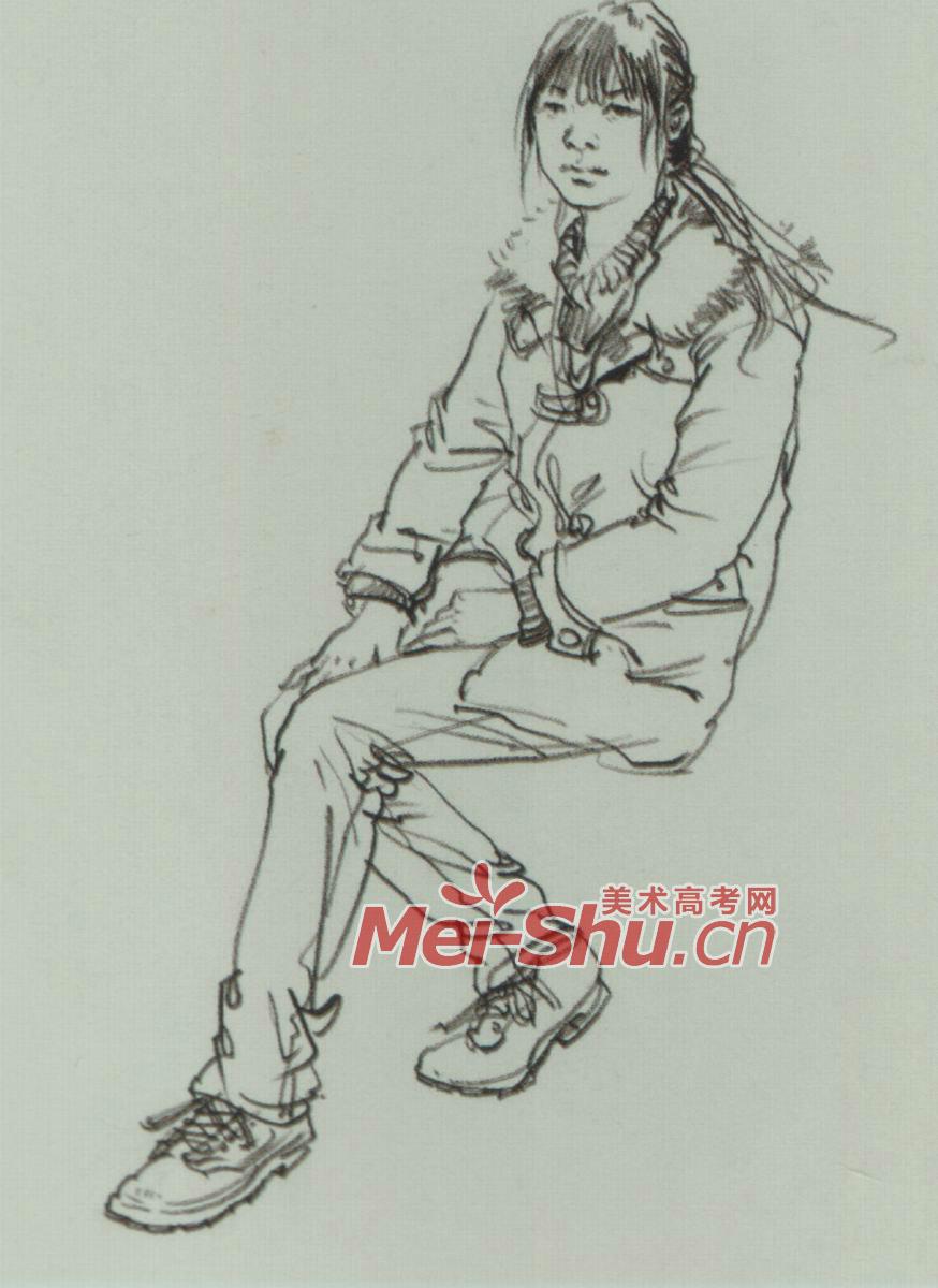 速写人物坐姿坐着的人坐着的女青年坐着的男青年