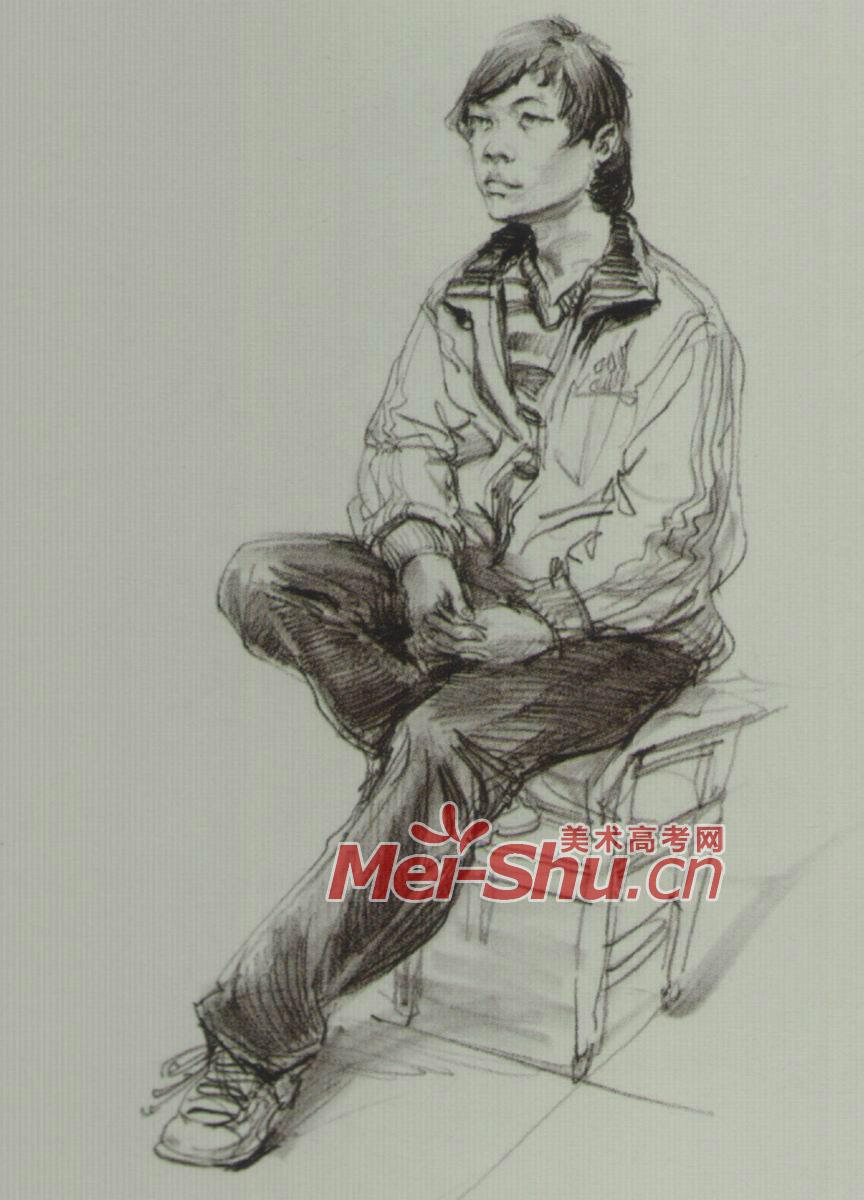 速写人物坐姿技法范画坐着画画的人坐在躺椅上(2)