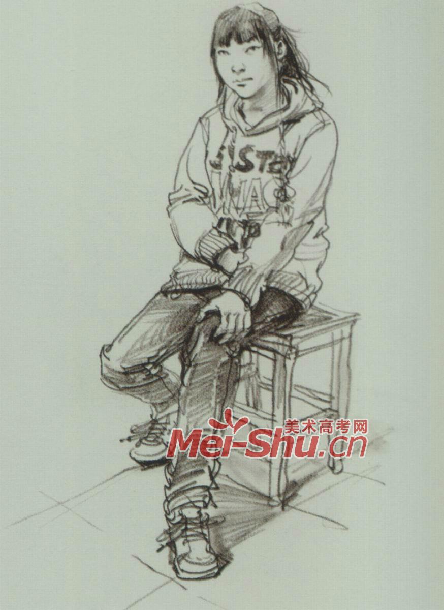 女生坐着侧面简笔画