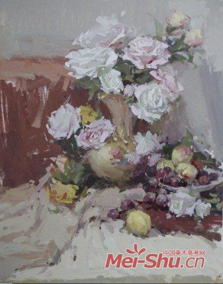 """""""花"""",产生的原因是对整组静物大的色彩关系,大的明度"""