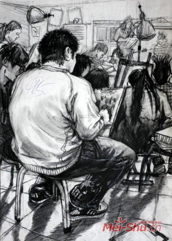 线描人物速写场景,场景速写 教室一角,速写场景一角 ...