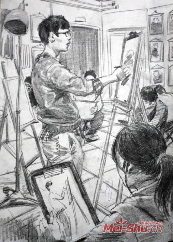 线描速写场景,纯线描人物速写场景,场景速写 教室一角,速写高清图片