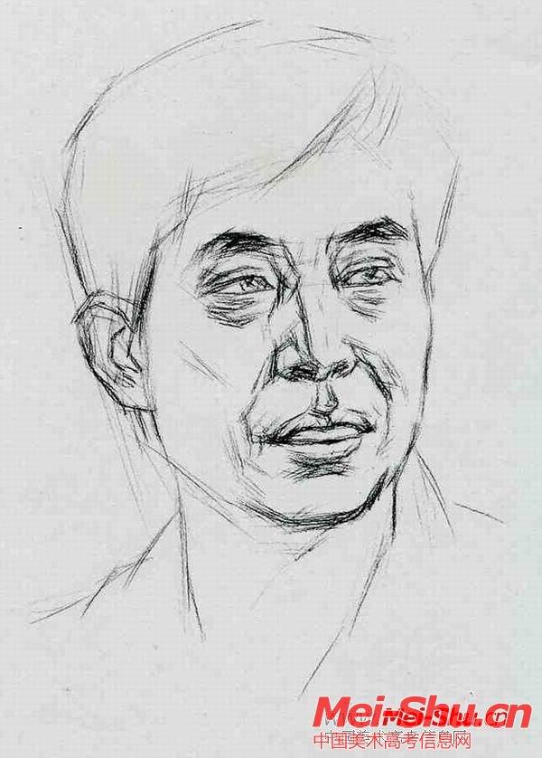 中年男子—真人头像—美术高考素描教程