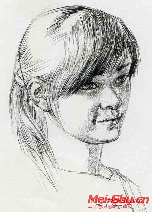 刘海的女孩—真人头像—美术高考素描教程