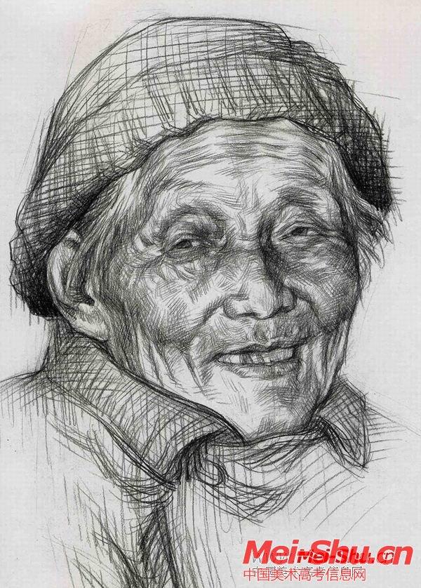 老太婆—真人头像—美术高考素描教程