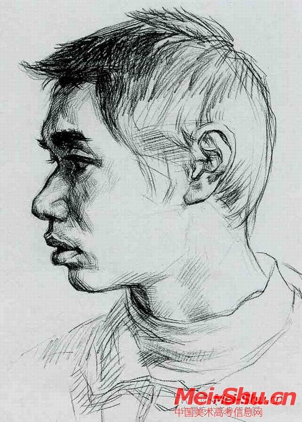 正侧男工—真人头像—美术高考素描教程