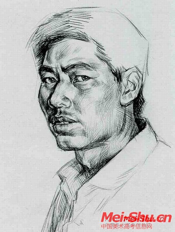 平头民工—真人头像—美术高考素描教程