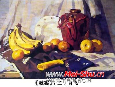 用中黄,柠檬黄,土黄,湖蓝,土红等颜色画出各种水果的大致色彩关系.