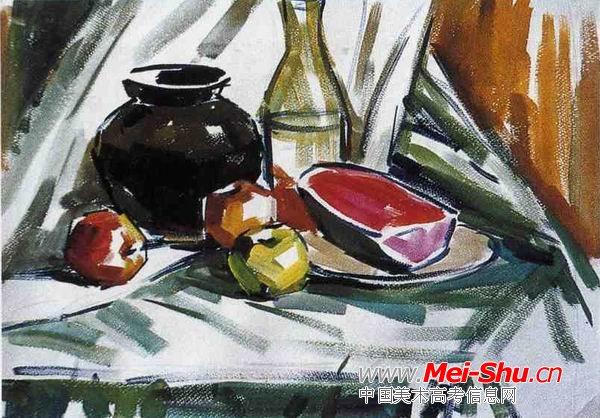 色彩静物写生步骤教程1—美术高考色彩教程